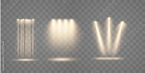 Obraz na plátne Set of spotlight shines on the stage, scene, podium