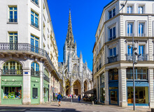 Cozy Street With Church Of Saint-Maclou In Rouen, Normandy, France. Architecture And Landmarks Of Rouen. Cozy Cityscape Of Rouen