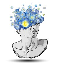 Vector Hand Drawn Fragment Of Colossal Head Of Classical Sculpture With Impressionist Starry Sky And Moon  Exploding From The Broken Side Isolated On White Background.