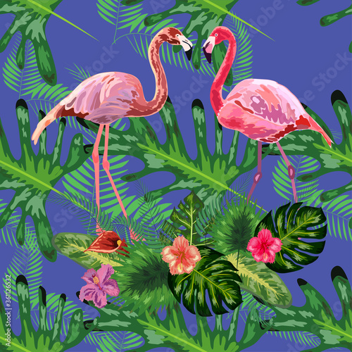 Trendy seamless pattern pink flamingo birds couple. Bright camelia flowers. Tropical monstera green leaves. © MichiruKayo