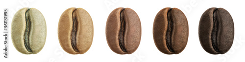 Fototapeta Stages of roasting coffee beans isolated
