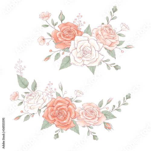 Leinwand Poster Bouquet a wreath of delicate roses. Hand drawing