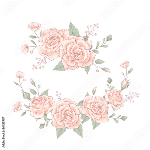 Foto Bouquet a wreath of delicate roses. Hand drawing