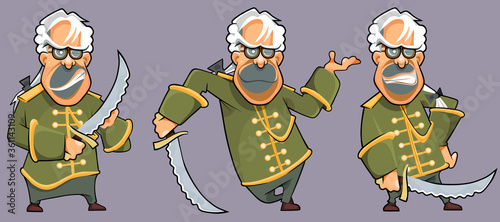Fototapeta cartoon man in medieval camisole with a saber in his hand and in various poses
