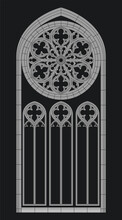 Medieval Cathedral Window Gothic Style Drawing
