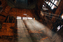 Beams Of Light In Old Abandoned Wooden Church