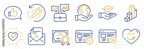 Fotografiet Set of Business icons, such as Heartbeat, Reject web