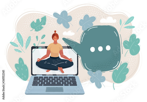 Photo Vector illustration of young woman in attend yoga with laptop.