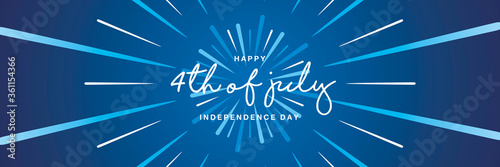 4th of july handwritten typography happy USA Independence day abstract firework Fotobehang