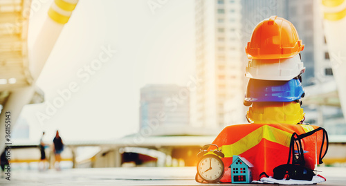 Fototapeta Safety Construction Worker Hard Hat. Teamwork of the construction team must have quality. Whether it is engineering, construction workers. obraz