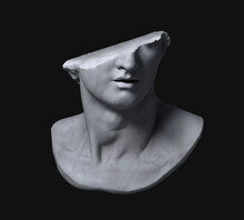 Fragment Of Colossal Head Sculpture Of Classical Style In Monochromatic Grey Tones Isolated On Black Background. 3D Rendering Illustration.