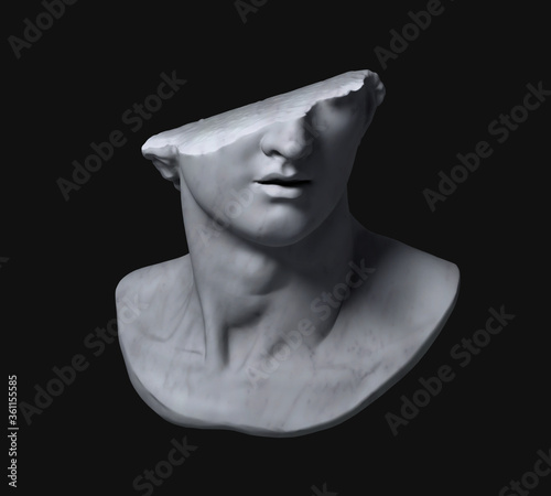 Valokuvatapetti Fragment of colossal head sculpture of classical style in monochromatic grey tones isolated on black background