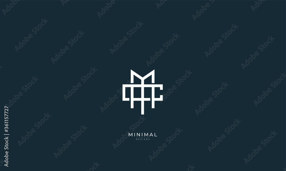 Fototapeta Alphabet letter icon logo MC or CM
