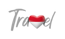 Travel Indonesia Love Heart Flag. 3D Rendering