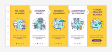 Beach Safety Onboarding Vector Template. Avoid Public Restrooms. No Mask In Water. Virus Spread Prevention. Responsive Mobile Website With Icons. Webpage Walkthrough Step Screens. RGB Color Concept