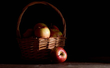 Braided Basket With Red Apples...
