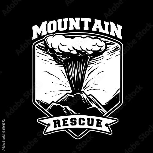 Fototapeta erupted mountain rescue vector design