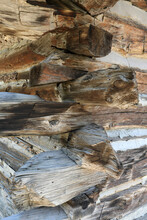 Old Historic Log Cabin Corner Construction Utah 1363. Pioneer Settler In Wilderness Mountain Valley. Family Home On Ranch And Farm.
