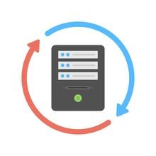 Server Synchronization Sign. Database Synchronize Technology Icon. Cloud Storage Sync Icon.