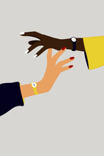 Arms Hand In Hand. Vector Illustration