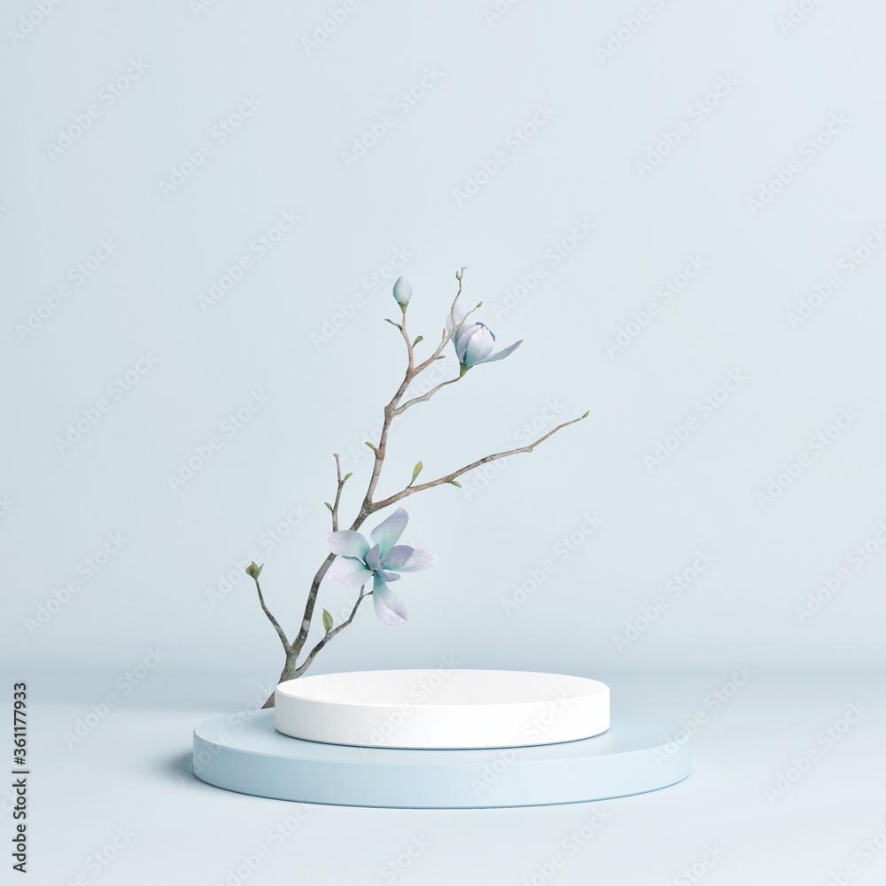 Fototapeta Podium mockup scene for product presentation, 3d render, 3d illustration