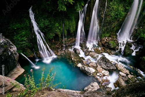 Cuadros en Lienzo Breathtaking shot of the Saut du Loup waterfalls captured in France