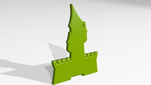CASTLE From A Perspective On The Wall. A Thick Sculpture Made Of Metallic Materials Of 3D Rendering. Architecture And Building