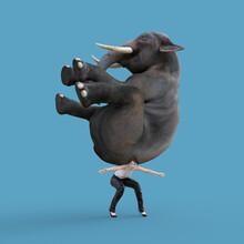 Woman Carries An Elephant