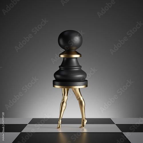 3d render, surreal concept, chess game piece, black pawn, object with golden sli Fotobehang
