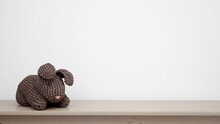 Knitted Stuffed Gray Toy Rabbi...