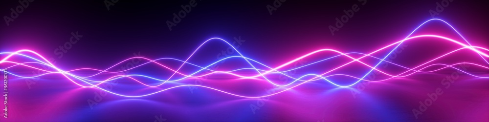 Fototapeta 3d render, abstract panoramic background with pink blue wavy lines. Glowing neon light, impulse equalizer chart in ultraviolet spectrum