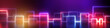 Leinwanddruck Bild - 3d render, abstract geometric neon background, wide panorama with ultraviolet glowing lines.