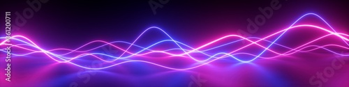 Fotografia 3d render, abstract panoramic background with pink blue wavy lines