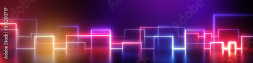 Платно 3d render, abstract geometric neon background, wide panorama with ultraviolet glowing lines