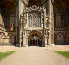 Peterborough, Cambridgeshire, UK, July 2019, A View Of Peterborough Cathedral.