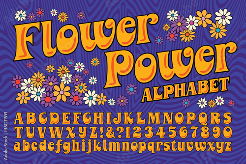 Photo A Flower Power Hippie Themed Font; This Alphabet is in the Style of Late 60s and