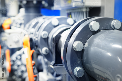 Valokuva PVC pipeline an industrial city water treatment boiler room