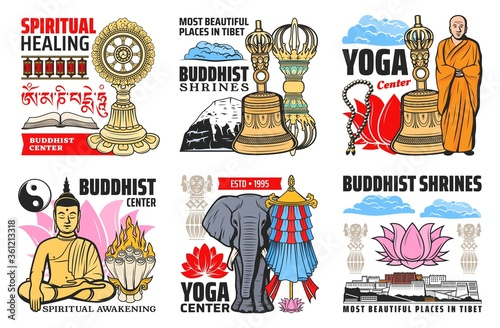 Buddhism religion symbols isolated vector icons. Buddhist symbolic beads, tibetan monk and lotus, prayer wheels. Buddha statue and precious umbrella, Dharma wheel and Tibetan Potala, flag and elephant #361213318