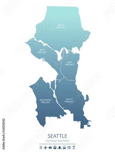 seattle map. us city vector map. Fototapet