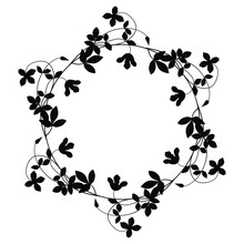 Round Floral Decor Or Frame Wi...