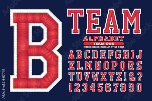 Sports Varsity Wear or University Lettering with 3d Stitching or Embroidery Effe Fotobehang