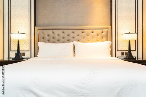 Fototapeta Pillow on bed decoration interior of bedroom