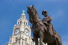 Liverpool, UK, 24th June 2014, King Edward VII Monument And Statue Outside The Royal Liver Building Again Blue Sky During The Daytime