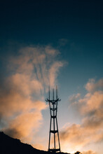 High Voltage Tower At Sunset, ...