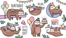Set Of Sloths Birthday Party V...