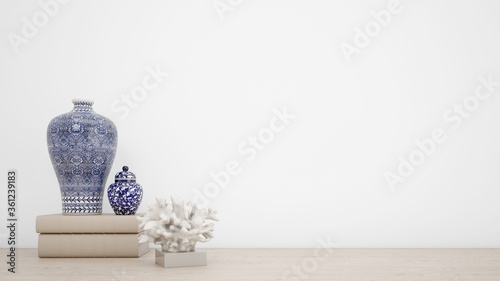 Leinwand Poster 3d rendering of antique blue and white vases isolated on white background