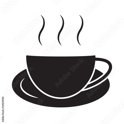 Fotografie, Obraz A cup of hot coffee cafe or caffeine drink flat icons for apps and websites