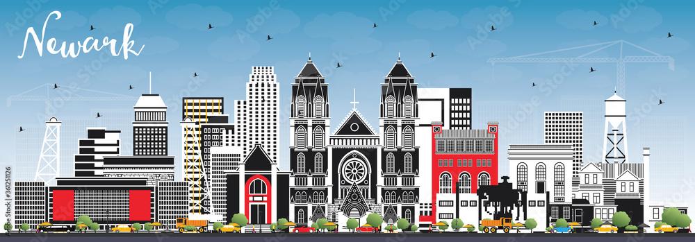 Fototapeta Newark New Jersey City Skyline with Color Buildings and Blue Sky.
