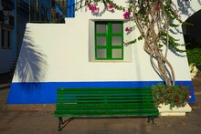 Bench Next To A Tree Growing In Front Of A White And Blue Building With Green Window Frames