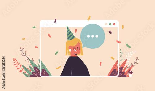 Fototapeta woman in funny festive hat celebrating online birthday party happy girln in computer window celebration self isolation quarantine concept portrait horizontal vector illustration obraz